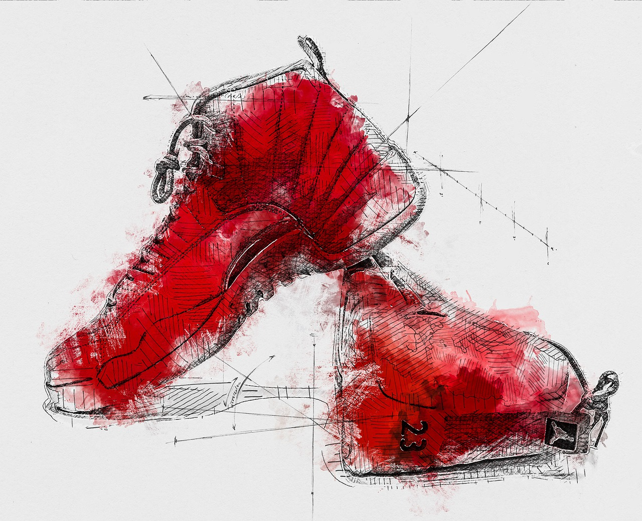 Shoe sketching in watercolour