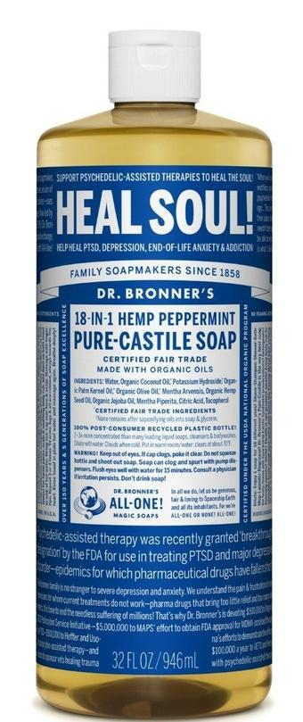 Dr. Bronner's Liquid Soap Peppermint Heal Soul